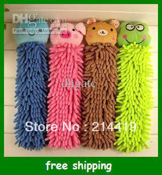 Creative cartoon chenille hand towel animal multi-colored super fiber hanging towels Free shipping(China (Mainland))