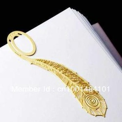 Free shipping ,Book mark Gold-plated bookmarks 18 K OPP,Featherbookmarks(China (Mainland))