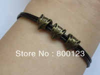 Cute Foxes Bracelet---Antique Bronze Three Double Size Little Cute Foxes with Two Black Leather Ropes Chain -H002