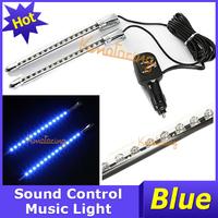 2pcs/set 15LED Car Sound Effect Control Music Sensor Light Blue DC12V, Auto Car Vehicle LED Lamp Free Shipping