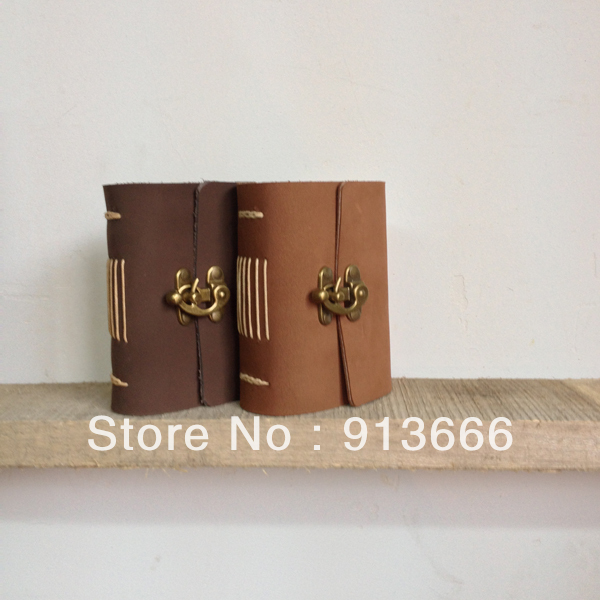 Mini diary,small leather diary,blank leather notebook,vintage journal,pocket journal,vintage brass lock,pocket notebook,travel(China (Mainland))