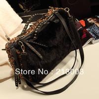 Fashion plaid leopard print patchwork goatswool bucket handbag vintage rivet handbag women's handbag