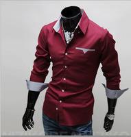 2014 Mens Slim fit Unique neckline stylish Dress long Sleeve Shirts Mens dress shirts ,plus size: M-XXXL MCS003