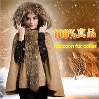 2014 women's plus size cloak woolen outerwear raccoon fur cape loose wool thickening wool coat NWT013