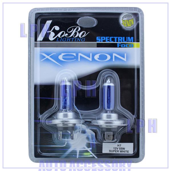 2 x H7 Xenon Halogen Auto HeadLight Bulb Kit 6000K 12V 55W + Free Shipping LP12007(China (Mainland))