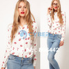 Cheap Spring Autumn New Fashion Womens' Hot Red Lip Print Chiffon Blouse Elegant Casual T Shirt Slim Design Free Shipping 11117