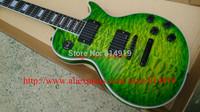 Custom Shop Green Burst Waves Ebony Fingerboard EMG Active pickups 81 /85 With 9V Battery Electric Guitar Black hardware