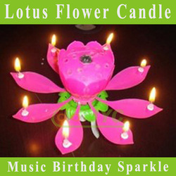 5 PCS/lot Beautiful Blossom Lotus Flower Candle Birthday Party Cake Music Sparkle(China (Mainland))