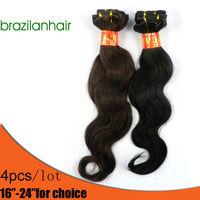 "Retail virgin brazilian hair (4pcs/lot 16-24""), Hair Extension,  Quality great Free shipping"