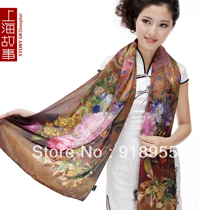 @ Special Sales 100% silk fabric scarf / scarves/Shawl for female, Flirtatious Scene Digital Inkjet, Newest Style(China (Mainland))