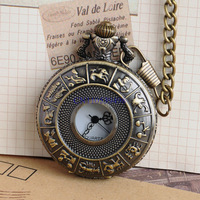 FREE SHIPPING Hot sale Bronze Antique Constellation Pattern Carved 45mm Diameter Men Quartz 35cm length FOB Chain Pocket Watch