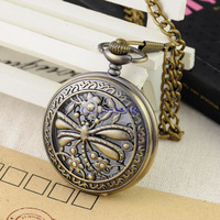 FREE SHIPPING Hot sale Bronze Antique Brand New Butterfly Carved 45mm Diameter Men Quartz 35cm length FOB Chain Pocket Watch