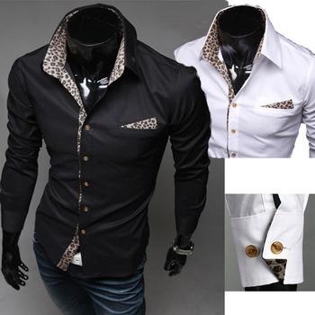 2014 Brand Chemise Men's Clothing Leopard Print Men Fitness Long-sleeve Casual Men Shirts Tops,RD473