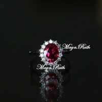 Synthetic Ruby ring red corundum 925 pure silver white gold plated oval shape retro and vintage noble elegant for woman