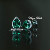 Synthetic Emerald Drop Shape Pear Earring 925 Silver Elegant and Bling fashion top quality