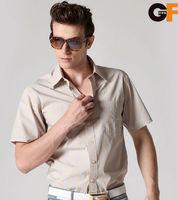 ok Freeshipping spring autumn blue coffee striped man male men's casual short sleeve slim fit cotton shirt top shirts FZ-MDX605