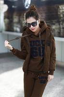 2012 autumn and winter female fashion fleece thickening sweatshirt fleece thermal sports casual three pieces set sweatshirt