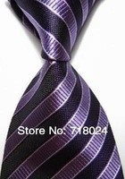 Free Shipping Classic Black pure Stripe Silk Jacquard Woven Man Tie Necktie Mens Fashion Ties