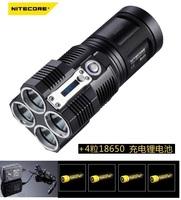 NITECORE TM26 Tiny Monster 4x Cree XM-L U2 led Cool White Flashlight 3500 lm Torches +Charger,4 Pcs battery.