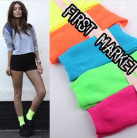 2014 Spring and autumn new women neon socks pile of pile of socks vintage knee-high socks 1 lot =10pcs =5pairs free shipping