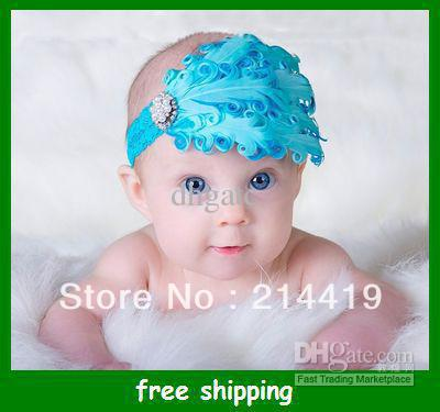 Children Baby Feather Headband Infant Kids Headwear Green Fashion Hair Ornament gifts Free shipping(China (Mainland))