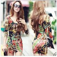 free shipping 2013 new fashion women's double V-neck sexy cotton dress, flowers print casual dress, dresses