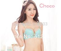 New 2014 On Sale Noble Women Intimates Deep V-neck Lace Diamond Brief Bra Sets Underwear Women Bra Set (Bra+Briefs)