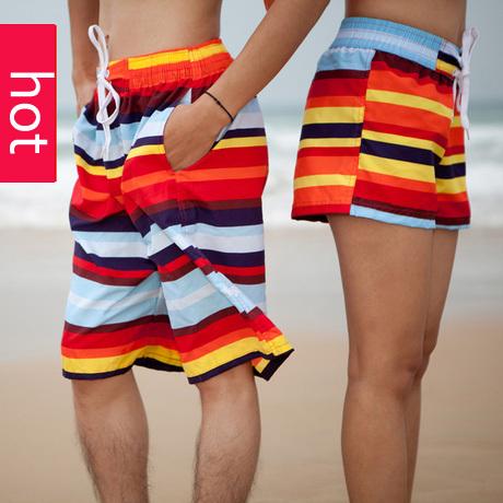 2014 new fashion beach shorts for women and men Swimwear big size Board shorts male Sports loose Swimsuit lovers stk001(China (Mainland))