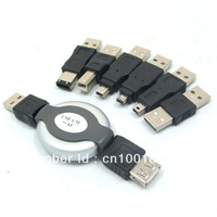 100pcs/ lots USB Multi Functional Connector Adapter 6 in 1 Kits USB Adapter Plug USB Plug,Free shipping