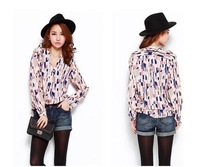 2013 autumn new hit color geometric plaid loose deep V collar long-sleeved chiffon shirt blouse-free shipping