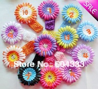 12sets  4&quot; Zebra Gerbera Daisy Flowers Hair Clips +1.5&quot; Crochet Stretch Toddler Headbands New Born Baby Hair Jewelry
