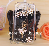 Clear Cell Phone Case or Cover For Samsung I9300 Galaxy SIII S3 Decorated with Rhinestone Buttons Alloy Ballet Girl and Flower