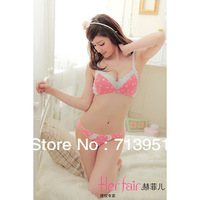 2013 Japanese fashion Sugababes charm flounced lace 3/4 cup deep V  push up shaping underwear, women bra and panty sets