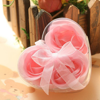 Romantic Flower Soap Heart Shape Handmade Rose Bath Sweet Clean Flakes Wedding Party Favors 3pcs/set