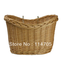 Fashionalble Cycling Front Basket Made From Natural Wicker  with Two Hooks