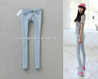 2012 autumn and winter elastic tight low-waist skinny pants light color denim pencil trousers female