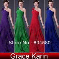 Hot Selling! Freeshipping Grack Karin 1pcs/lot Stock One Shoulder Pleated Party Gown Prom Ball Long Evening Dress 8 Size CL3467