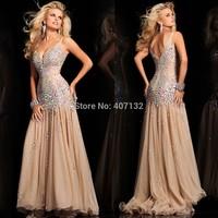 2015 Newest Design Fashion Mermaid/Trumpet Crystals V-neck Floor Length Organza Champagne Prom Dress Long