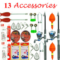 Sale 2.1m Fishing Rod Set Fishing Tackle Set with 13 Accessories Fshing Rods Line Reel Hooks Fshing Rod Holder Free Shipping