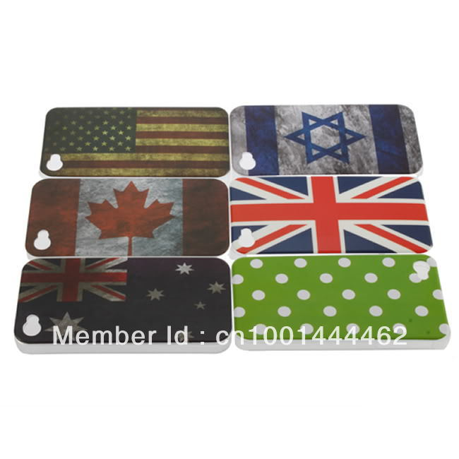 New America/Canada/ National Flag Pattern Hard Cover Back Case for iPhone 4 4G 4S Brand New(China (Mainland))