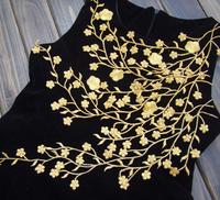 Free shipping!Gold Long Flower Shape Venise Lace Applique Trims Embroidery Craft 5pcs