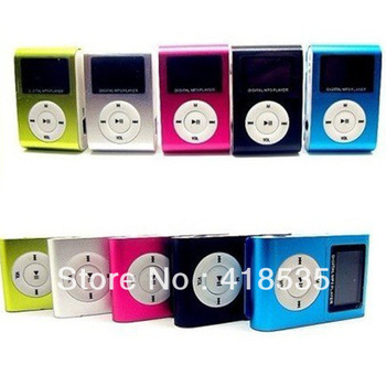 5pcs/lot Clip mp3 player with screen card slot mini  player  Free shipping