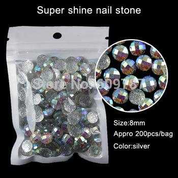 silver 200pcs super shine nail art glitter stone
