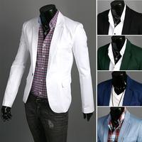 2014 New Men's Formal Jacket Fashion Suit Casual Slim Fit One Button Blazer Coat Jacket Black White(M -XXXL) Free Shipping