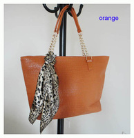 Hot Sale popular women bags,handbag,orange, Size:44 x 26cm,PU,2 different colors,strap,promation bags ! Free shipping