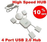 10Pcs Lovely White Human Shape HI-SPEED USB 2.0 4 port USB HUB Doll shape usb hub Free shipping