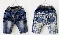 Free shipping Children's clothing 2013 summer clothes baby shorts knee-length pants jeans for boy children's jeans Skull pattern