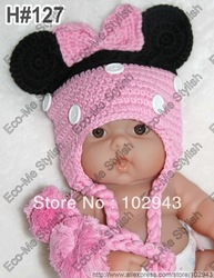 Children Fashion Knitting Crochet Baby girls Braided Hat in Black & Pink with Pink Bow for Christmas gifts(China (Mainland))