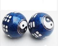 Health ball baoding iron ball blue diameter 50mm Cloisonne process