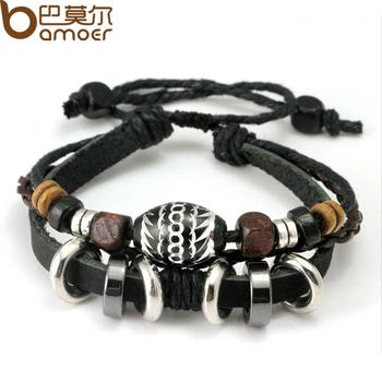 2013 Wrap Черный Leather Rope Bracelet for Men Разноцветный Wooden Beads and Metal ...
